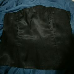 Formal satin tube top Dressy and simple black sleeveless. Saks Fifth Ave Folio collection. Good used condition. Tops Blouses