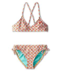 Roxy Girl Catching Waves Bikini 2 Piece Set in Fiery Orange Size 10 | eBay