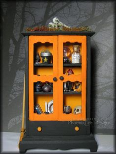 Handmade Miniature Halloween Hutch Spooky Magic Witch's Supply Cabinet In Black and Orange