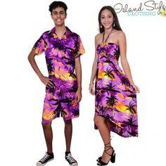 Hawaiian couples set purple sunset mens hawaiian shirt and dress fancy dress. Honeymoon, Cruise, Uniforms.