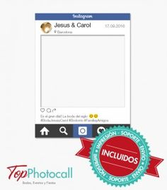 Que el día de tu boda no pase desapercibido en Instagram. Que suban fotos de tu vestido, de la comida y de la decoración. Y que los invitados imiten la pantalla del móvil con este marco photocall para bodas idéntico a la app Instagram.