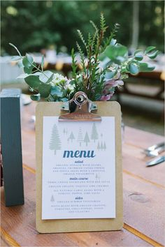 Cute clipboard menu idea to put on each table. Captured By: Kirsten Julia Photography ---> http://www.weddingchicks.com/2014/05/16/bold-and-bright-diy-wedding/