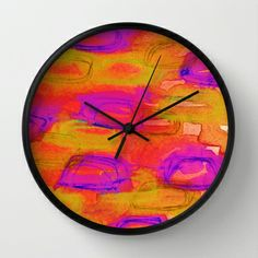 NOT YET, NIGHT - Bright Bold Colorful Warm Tones Blood Orange, Tangerine, Lime, Acid Green Plum Purple Radiant Orchid Abstract Watercolor Mixed Media Painting Lovely Trendy Summer Fall Dusk Tones Modern Home Decor Wall Clock by EbiEmporium - $30.00