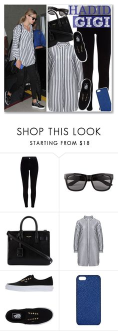 """Gigi Hadid in Striped Shirt"" by anne-mclayne ❤ liked on Polyvore featuring River Island, Vero Moda, Yves Saint Laurent, Studio, Vans and Maison Takuya"
