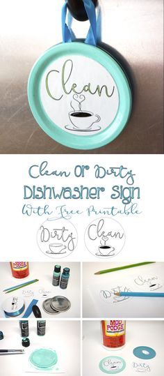 Use Mason jar lids with this free printable to make this cute easy clean or…