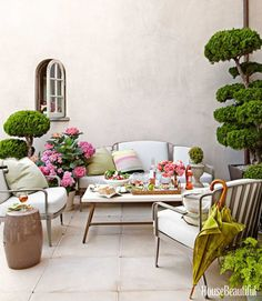 outdoor furniture, patio, white cushions, garden stool