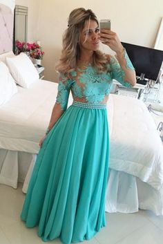 dress for less prom dresses on sale at reasonable prices, buy Long Sleeve Prom Dress 2015 Turquoise Chiffon Nude Tulle Appliques A line Evening Dress Floor Length vestidos de festa from mobile site on Aliexpress Now! Prom Dresses 2016, Prom Dresses Long With Sleeves, Dance Dresses, Formal Dresses, Dress Prom, Prom 2016, Sleeve Dresses, Bridesmaid Dresses, Evening Dress Long