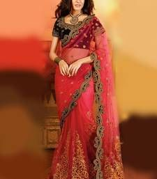 Buy Rani pink embroidered net Saree party-wear-saree online