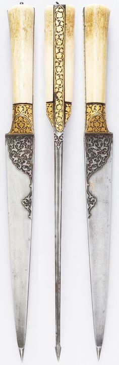 Persian kard dagger, ca. 1800, steel, ivory, gold, wood, leather, iron, L. without sheath 15 7/16 in. (39.2 cm); W. 1 1/4 in. (3.2 cm); Wt. 14.8 oz. (419.6 g), Met Museum,  Bequest of George C. Stone, 1935.