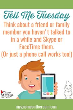 Think about a friend or family member you haven't talked to in a while and Skype or FaceTime them for (Or just a phone call works too! Friends Family, Family Guy, Daily Activities, Facetime, Tell Me, It Works, Adventure, Phone, Fun