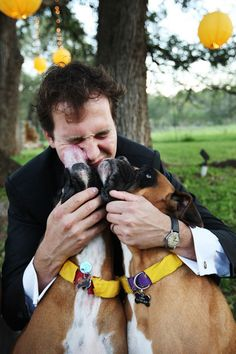Always a man's best friend! Google Image Result for http://cache.elizabethannedesigns.com/blog/wp-content/uploads/2009/11/groom-with-dogs-diy-ribbon-collars-wedding.jpg