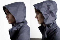 E-motion: shape-shifting hood that references the senses and feelings of a person in an abstract way. It subtly transforms and changes shape via shape memory alloys. The project was developed Max Schäth