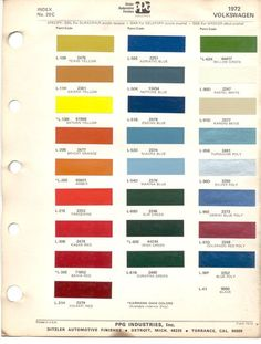 Paint Chips 1972 Volkswagen Beetle VW Bus