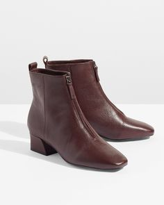 An everyday shoe with a sleek appeal, this leather boot sits on a comfortable and covered low block heel. Available in wine and black and featuring a front zip closure, the clean styling and practical design makes for classic wear. Low Heel Boots, Low Heels, Everyday Shoes, Leather Boots, Zip, My Style, Classic, How To Wear, Closure