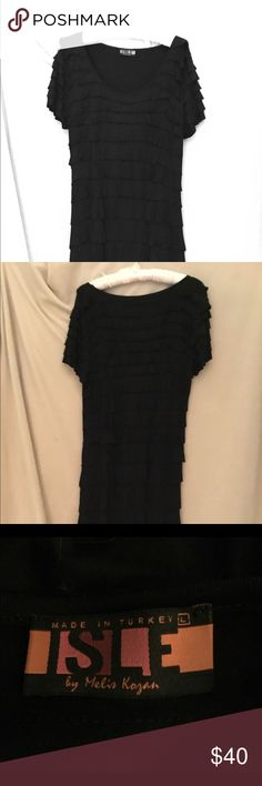 "Isle by Melis Kozan short sleeve black dress ""Flapper"" style with built in shapewear.  Size L. 95% viscose, 5% spandex. Machine wash dry flat. Very flattering. Isle by Melis Kozan Dresses Mini"