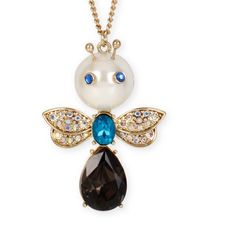 Betsey Johnson Faux  Pearl & Crystal Bug Pendant N New with tag very very very :) cute necklace . Betsey Johnson Accessories