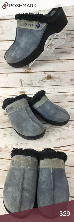 Crocs Cobbler Suede Faux Fur Lined Split Toe Clogs These shoes are in good, lightly worn condition. Minor scuffs, scratches and marks from wear. Please see pics for more details (: CROCS Shoes Mules & Clogs