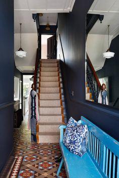 Tiffany Duggan is a natural creative talent. Starting her own interior design studio in Studio Duggan, has grown from. Dark Blue Hallway, White Hallway, Tiled Hallway, Dark Blue Walls, Dark Blue Houses, Edwardian Staircase, Edwardian Hallway, Edwardian Haus, Flur Design