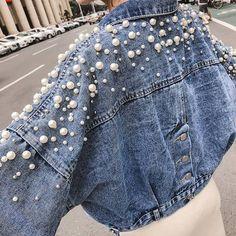 Sweet Pearl Decor Denim Jacket Bf Wind Short Jeans Jacket - Source by - Custom Clothes, Diy Clothes, Denim Fashion, Fashion Outfits, Crazy Fashion, Sporty Fashion, Ski Fashion, Modest Fashion, Fashion Women