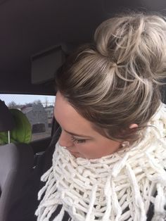 "Loving my ""shadow root"" and messy bun:) done by myself! HairandBeyond"