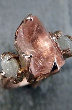 Raw Champagne Topaz Diamond Rose Gold Engagement Ring