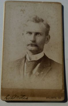 """CARTE DE VISITE (CDV) OF AN EMORY COLLEGE STUDENT GRADUATE, CLASS OF 1893. SIGNED ON THE BACK BY """" YOURS IN A.T.O. EMORY COLLEGE, CLASS '93, T.D. ELLIS, OAKGROVE, GA.""""  LINK FOR THE HISTORY OF THE ALPHA TAU OMEGA FRATERNITY (A.T.O.)  www.ato.org/alphatauomega/atohistory/factsandfirsts.aspx   From the J. Fred Rodriguez Atlanta Collection."""