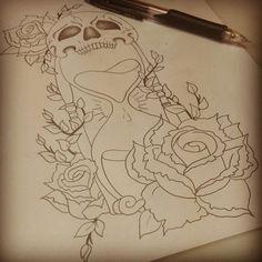Skull hourglass rose tattoo