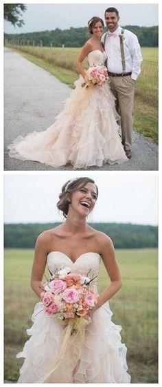 Strapless Wedding dress,A line wedding gowns,Lace Up Organza Beach Wedding Gowns,sweetheart wedding dresses