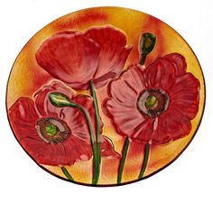 Platter with Red Corn Poppies