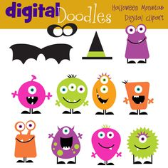 Halloween Monsters digital clipart