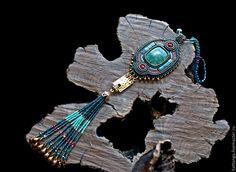 Купить Кулон бисерный Asharias - морская волна, длинный кулон, кулон с кистью, кулон из бисера