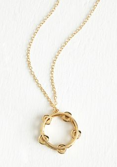 Jingle All the Yay Necklace. Dance through the day to the beat of your own tune, accompanied by this tambourine necklace! #gold #modcloth