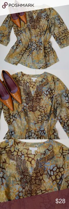 Charter Club Woman Plus 2X Charter Club Plus Blouse/Top, Size 2X, 100% cotton, v-neckline with embroidery and beads, beautiful nature colors of greens, brown, blue, yellow and more. Lightweight fabric, pullover, long sleeves. The shoes pictured with the top are size 9 and go perfectly...they are listed in my closet. Charter Club Tops Blouses