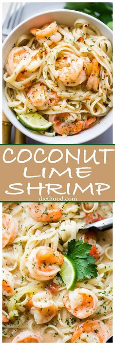 Coconut Lime Shrimp - Deliciously creamy shrimp cooked in an amazing coconut lime sauce with tomatoes and peppers, and served over noodles or rice. Sub noodles Lime Shrimp Recipes, Shrimp Recipes For Dinner, Fish Recipes, Seafood Recipes, Pasta Recipes, Cooking Recipes, Healthy Recipes, Recipies, Healthy Meals