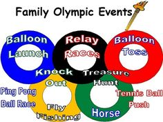 """So fun.. olympic themed party.. lots of great ideas for """"events"""" - fun for end of summer Labor Day party too."""