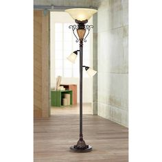 A beautiful floor lamp design with elegant scrolls, crackled finish and twin side lights.