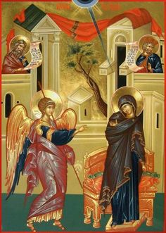 The Annunciation Painting by Daniel Neculae - The Annunciation Fine Art Prints and Posters for Sale Byzantine Icons, Byzantine Art, Religious Icons, Religious Art, Religious Paintings, The Annunciation Painting, Christ Pantocrator, Feuille D'or, Life Of Christ