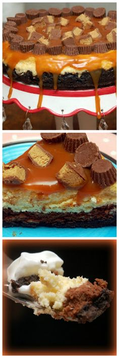 CARAMEL TOPPED DOUBLE LAYER CHOCOLATE CHEESECAKE WITH PEANUT BUTTER CUPS AND OREO CRUST!