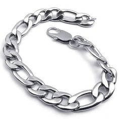 KONOV Jewelry Wide Stainless Steel Figaro Mens Bracelet, Color Silver, 11mm, 9 Inch