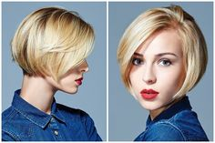 blonde bob hairstyle, side view and back view