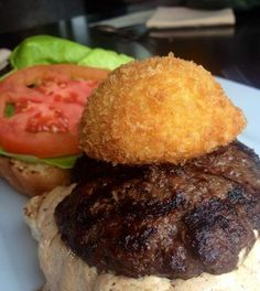 today... the smothered steer! Keener farms grass fed burger topped with a havarti stuffed potato croquette, tomato, bibb lettuce and chipotle aioli! comes with one side. and (back by popular demand) our soup of the day is spicy sweet potato. lunch until 3P!