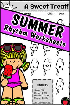 Distance Learning SUMMER Music Worksheets Rhythm Activities End of the Year Music Sub Plans, Music Lesson Plans, Music Lessons, Music Activities For Kids, Music For Kids, Music Theory Games, Rhythm Games, Music Worksheets, Summer Worksheets