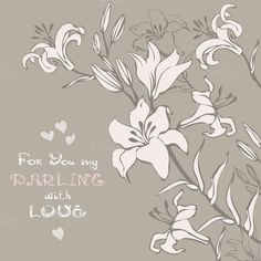 Greeting card with lilly by @Graphicsauthor