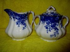 Antique Flow Blue Vermont Pattern Sugar & Creamer Burgess & Leigh England GREAT