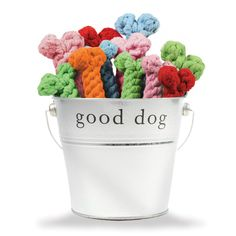 <p>Keep your pup's teeth and gums clean with our rope dog toys! Ideal dog chew toys for teething puppies, just wet, freeze, and let 'em have at it. Made from 100% recycled cotton yarns, if our Cotton Rope Bone Toy gets dirty, just toss in it the wash. Harry Barker