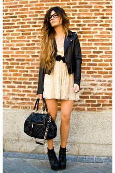 Leather jacket, lace dress, JC Litas