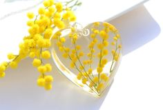 Mimosa flower pendant Spring necklace Spring sunshine jewelry real pressed mimosa flowers resin natural heart jewelry yellow bright OAAK