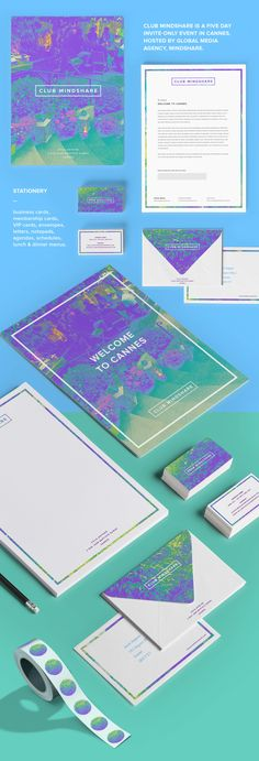 Lovely work by Leonie Knowles. Club Mindshare, Cannes Lions Festival of Creativity on Behance Stationary Branding, Event Branding, Stationery Design, Branding Ideas, Identity Design, Visual Identity, Brand Identity, Cannes Lions, Social Media Art