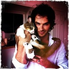 Even the cat can't believe how gorgeous he is... (Ian Somerhalder) *Dreamy sigh*