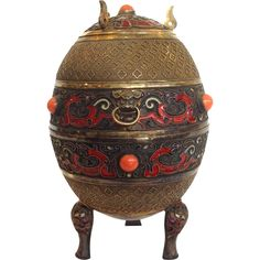Chinese Enamel and Gilt Silver Egg Shaped Box Late 19th c from Antiques of River Oaks on Ruby Lane $2,250 - Questions Call: 713-961-3333
